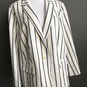 Talbots Jacket Blazer Vertical Stripe white navy